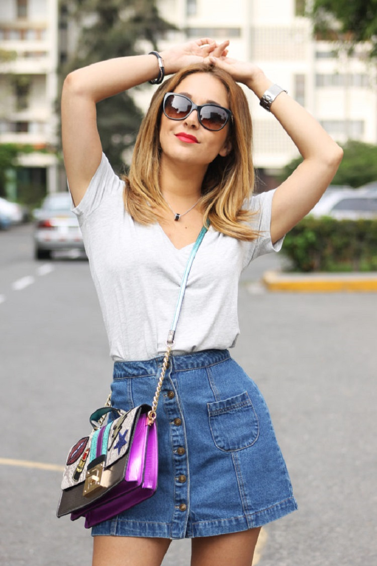 basic polo and Jeans skirt