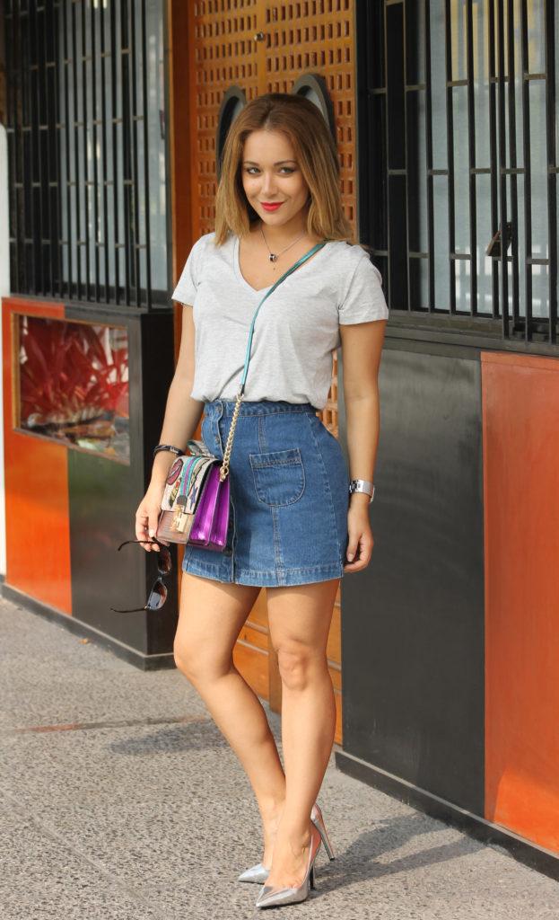 basic polo and jean skirt