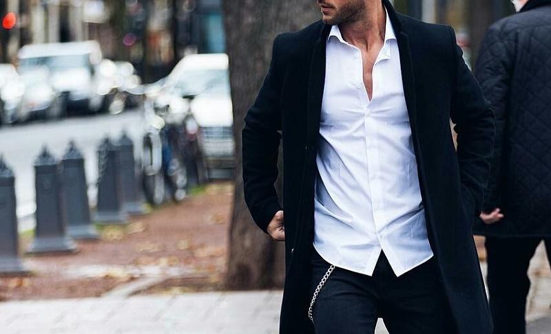 Black overcoat coat