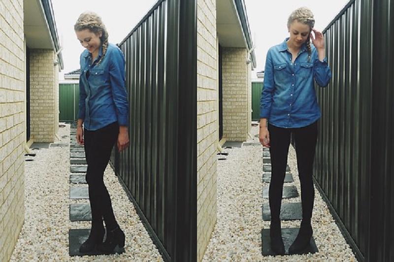 Denim shirt with black leggings
