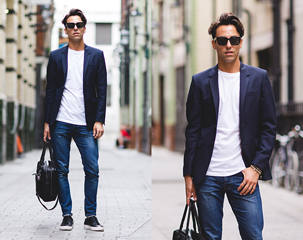 denim shirt with blazer