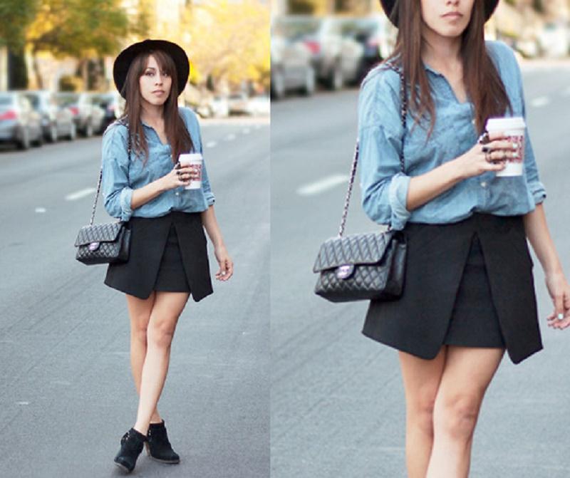 denim shirt with skirt
