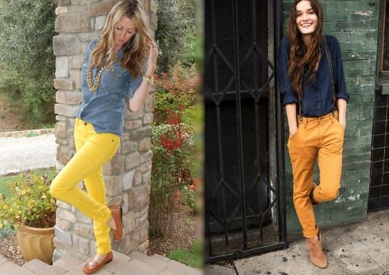 Denim shirt with mustard trousers