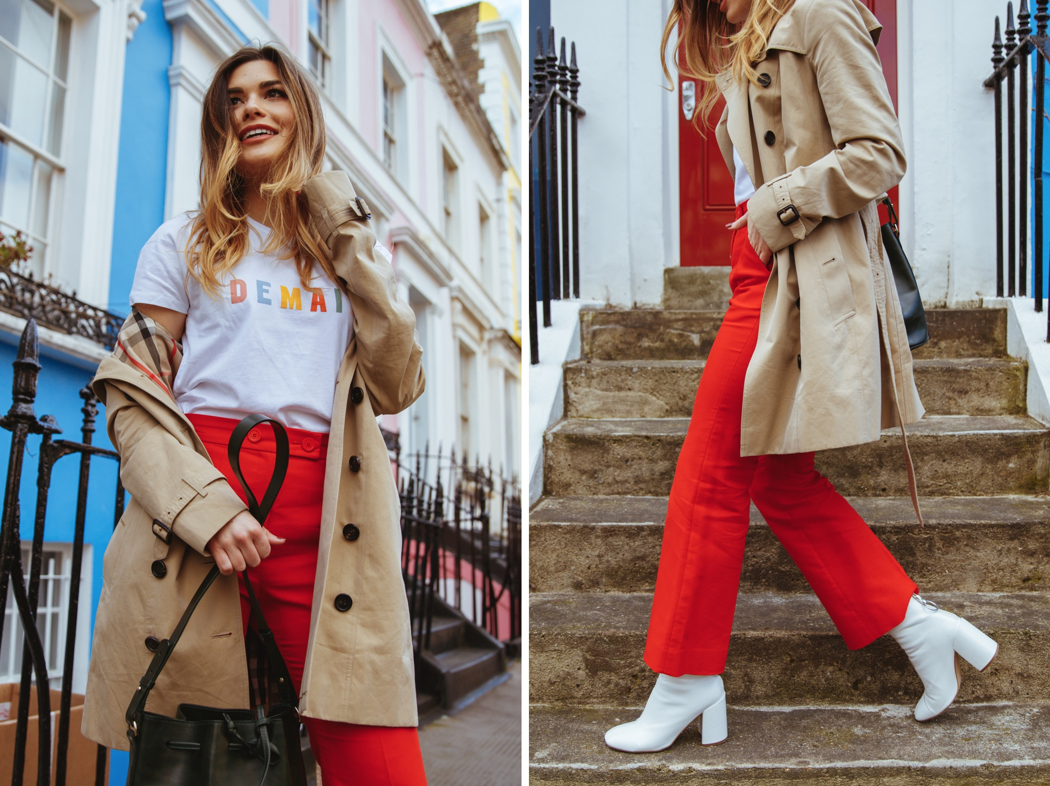 Red pants with coats