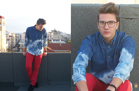 Red pants with jeans shirt