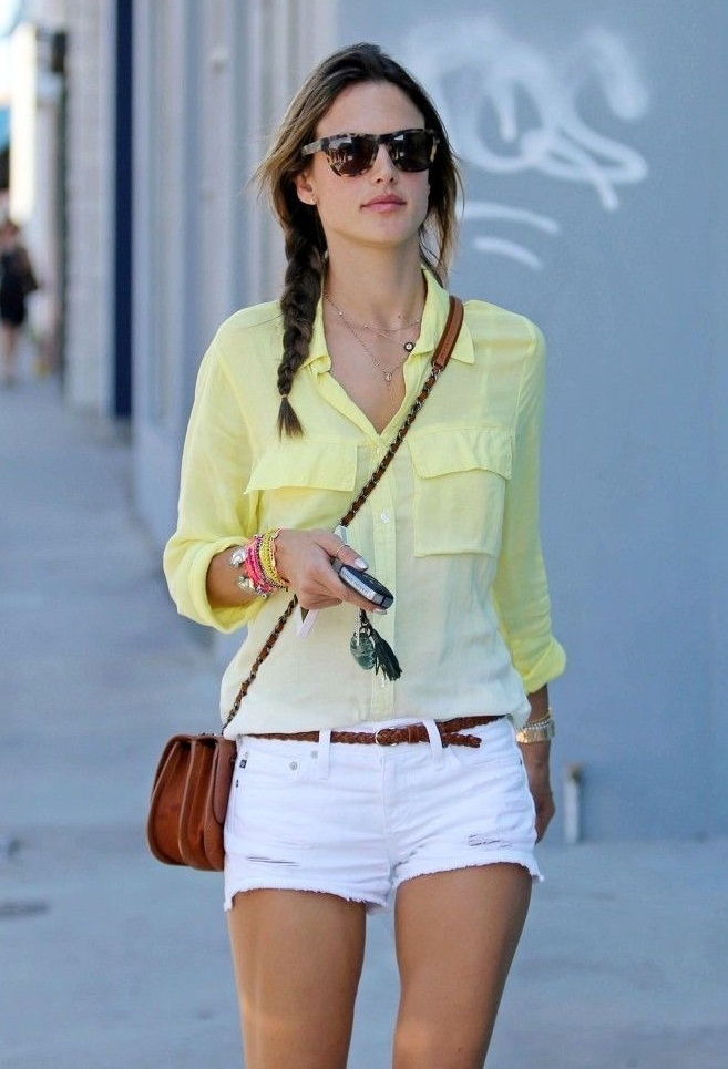 Street style with white shorts